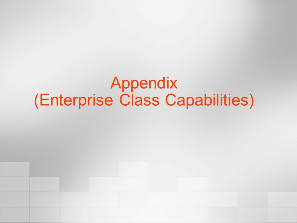Appendix (Enterprise Class Capabilities)
