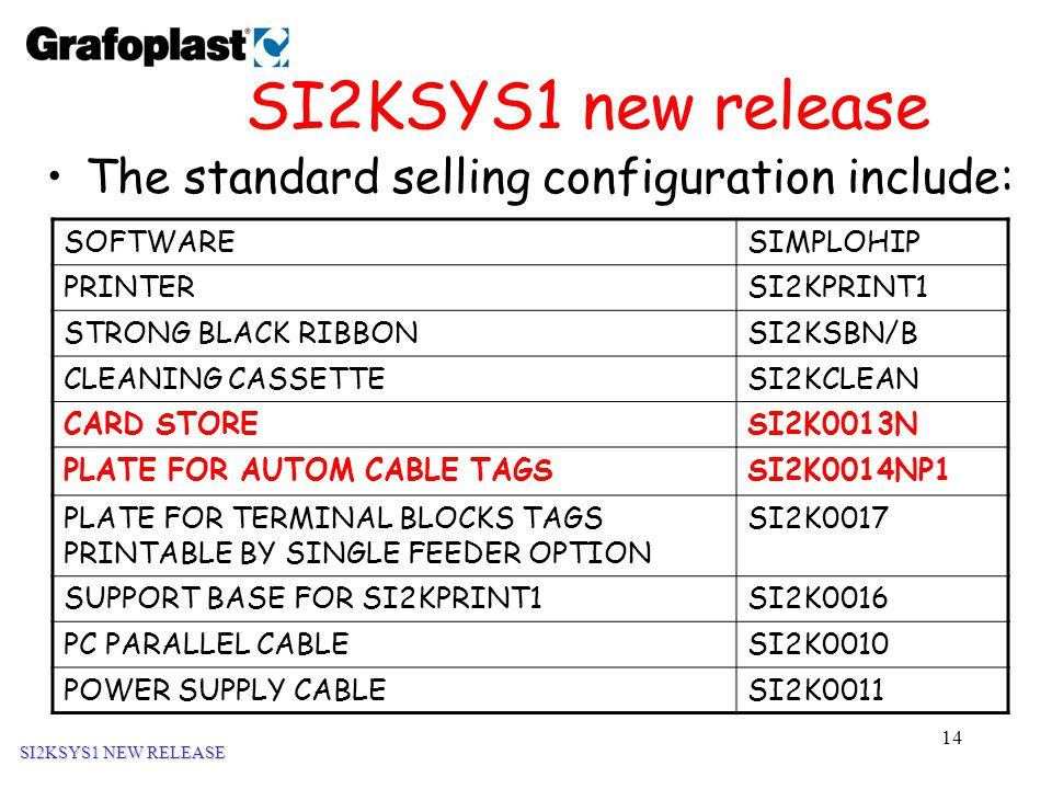 14 SI2KSYS1 new release The standard selling configuration include: SI2KSYS1 NEW RELEASE SOFTWARESIMPLOHIP PRINTERSI2KPRINT1 STRONG BLACK RIBBONSI2KSBN/B CLEANING CASSETTESI2KCLEAN CARD STORESI2K0013N PLATE FOR AUTOM CABLE TAGSSI2K0014NP1 PLATE FOR TERMINAL BLOCKS TAGS PRINTABLE BY SINGLE FEEDER OPTION SI2K0017 SUPPORT BASE FOR SI2KPRINT1SI2K0016 PC PARALLEL CABLESI2K0010 POWER SUPPLY CABLESI2K0011