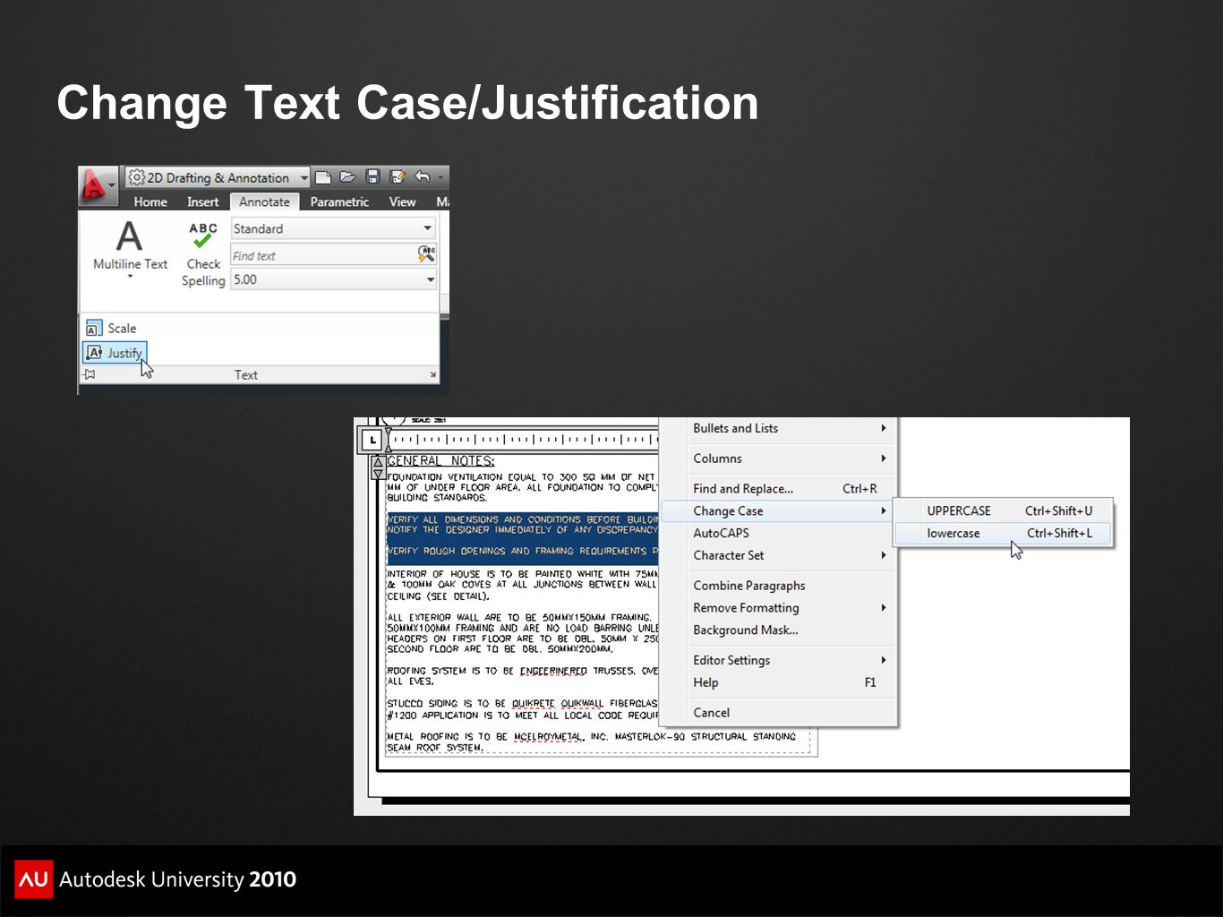 Change Text Case/Justification