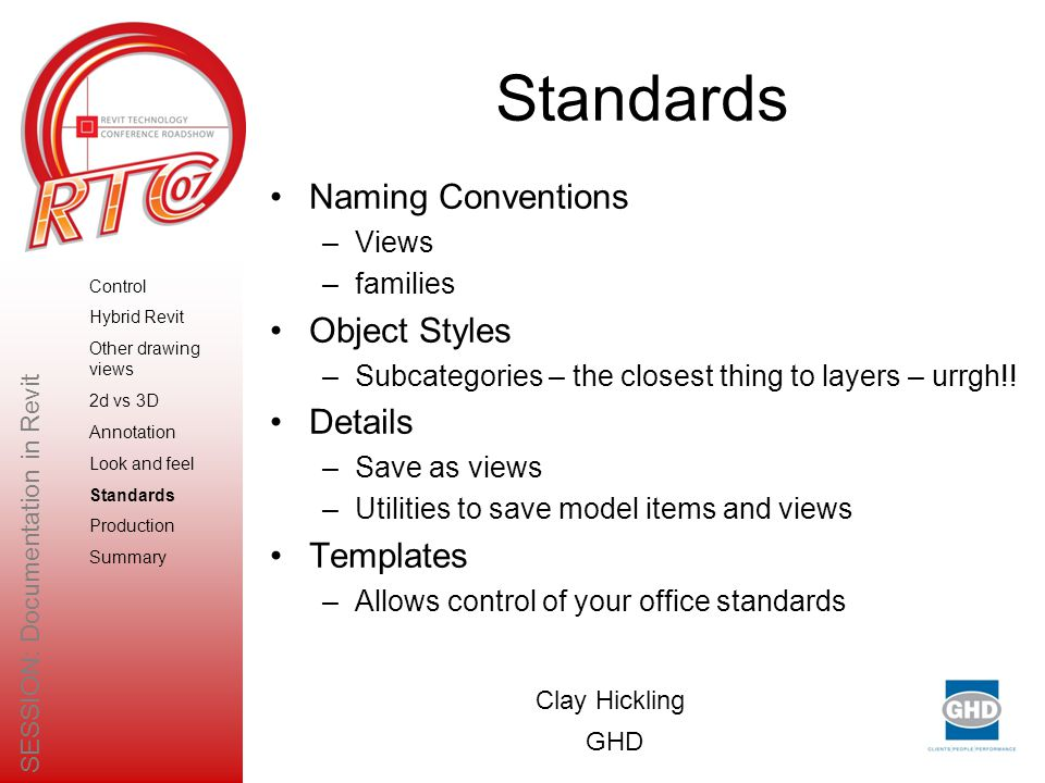 Standards Naming Conventions –Views –families Object Styles –Subcategories – the closest thing to layers – urrgh!.