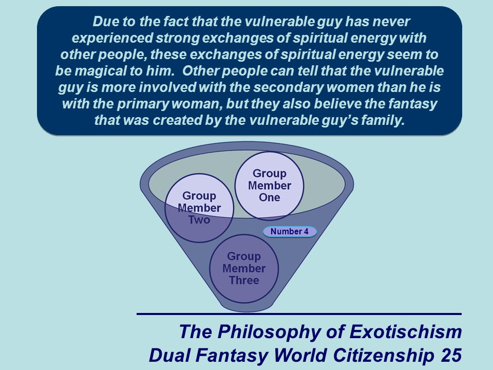 The Philosophy of Exotischism Dual Fantasy World Citizenship 25 Number 4 Due to the fact that the vulnerable guy has never experienced strong exchanges of spiritual energy with other people, these exchanges of spiritual energy seem to be magical to him.