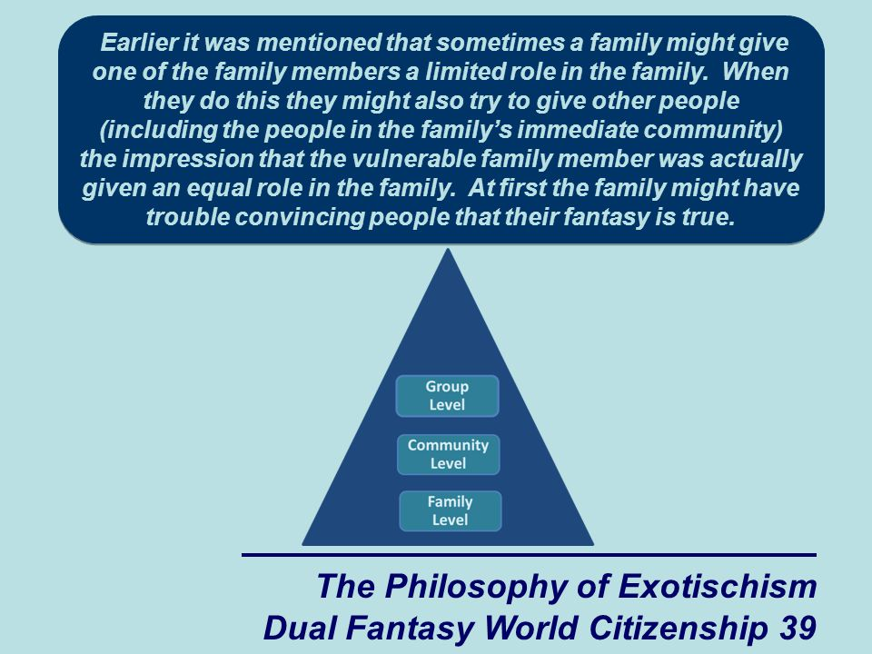 The Philosophy of Exotischism Dual Fantasy World Citizenship 39 Earlier it was mentioned that sometimes a family might give one of the family members a limited role in the family.