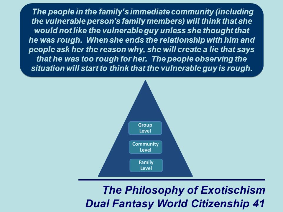 The Philosophy of Exotischism Dual Fantasy World Citizenship 41 The people in the family's immediate community (including the vulnerable person's family members) will think that she would not like the vulnerable guy unless she thought that he was rough.