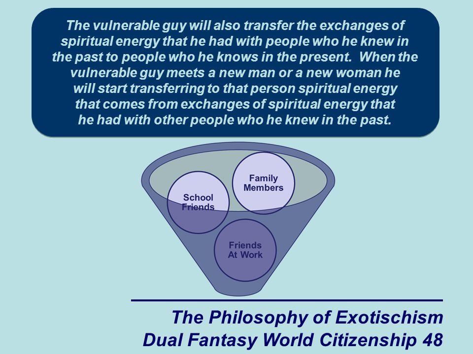 The Philosophy of Exotischism Dual Fantasy World Citizenship 48 The vulnerable guy will also transfer the exchanges of spiritual energy that he had with people who he knew in the past to people who he knows in the present.