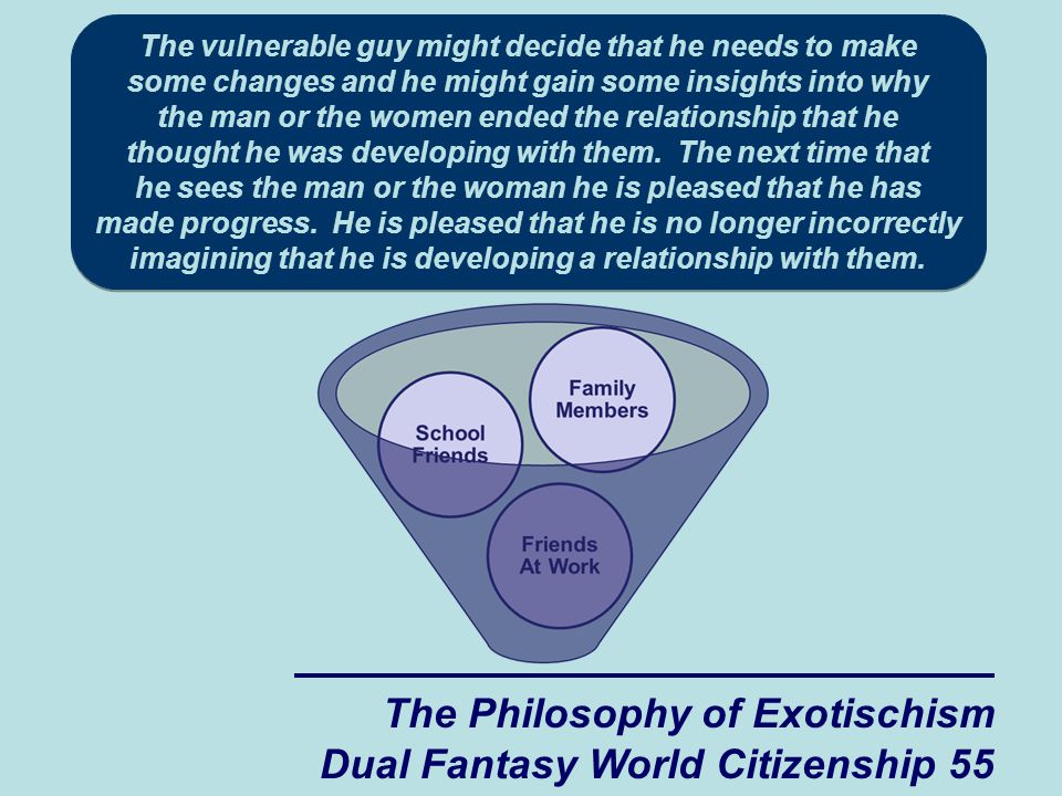 The Philosophy of Exotischism Dual Fantasy World Citizenship 55 The vulnerable guy might decide that he needs to make some changes and he might gain some insights into why the man or the women ended the relationship that he thought he was developing with them.