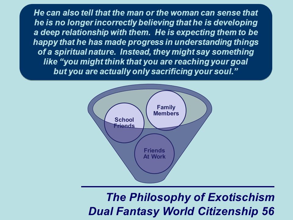 The Philosophy of Exotischism Dual Fantasy World Citizenship 56 He can also tell that the man or the woman can sense that he is no longer incorrectly believing that he is developing a deep relationship with them.