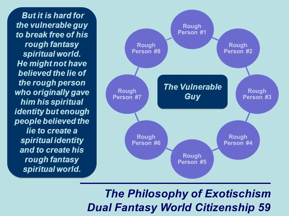 The Philosophy of Exotischism Dual Fantasy World Citizenship 59 But it is hard for the vulnerable guy to break free of his rough fantasy spiritual world.