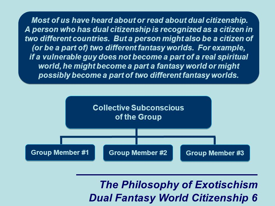 The Philosophy of Exotischism Dual Fantasy World Citizenship 6 Most of us have heard about or read about dual citizenship.