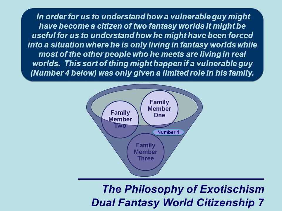 The Philosophy of Exotischism Dual Fantasy World Citizenship 7 Number 4 In order for us to understand how a vulnerable guy might have become a citizen of two fantasy worlds it might be useful for us to understand how he might have been forced into a situation where he is only living in fantasy worlds while most of the other people who he meets are living in real worlds.