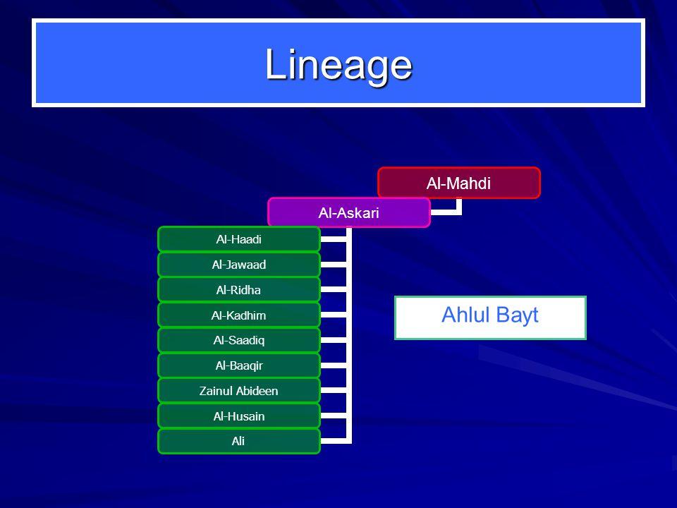 Lineage Al-Mahdi Al-Askari Al-Haadi Al-Jawaad Al-Ridha Al-Kadhim Al-Saadiq Al-Baaqir Zainul Abideen Al-Husain Ali Ahlul Bayt