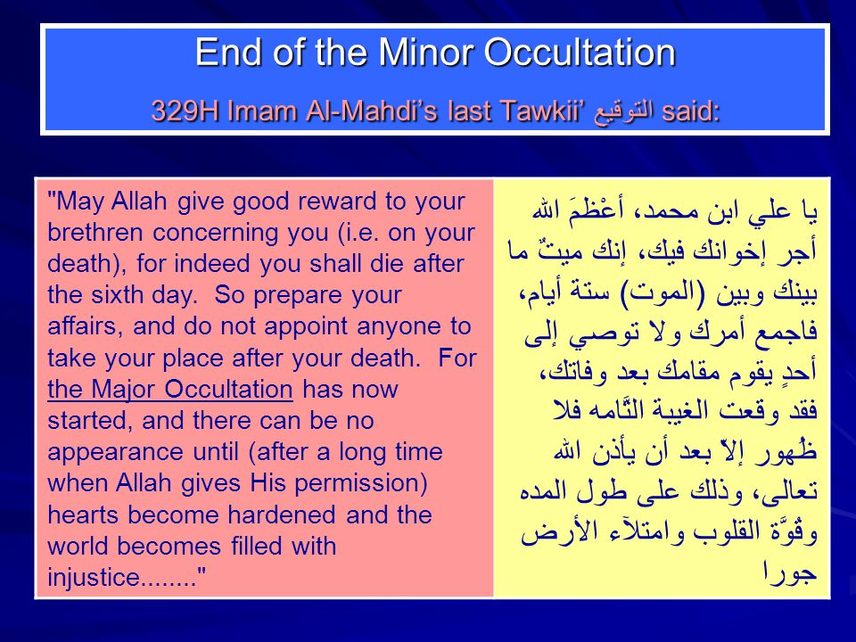 End of the Minor Occultation 329H Imam Al-Mahdi's last Tawkii'التوقيع said: May Allah give good reward to your brethren concerning you (i.e.