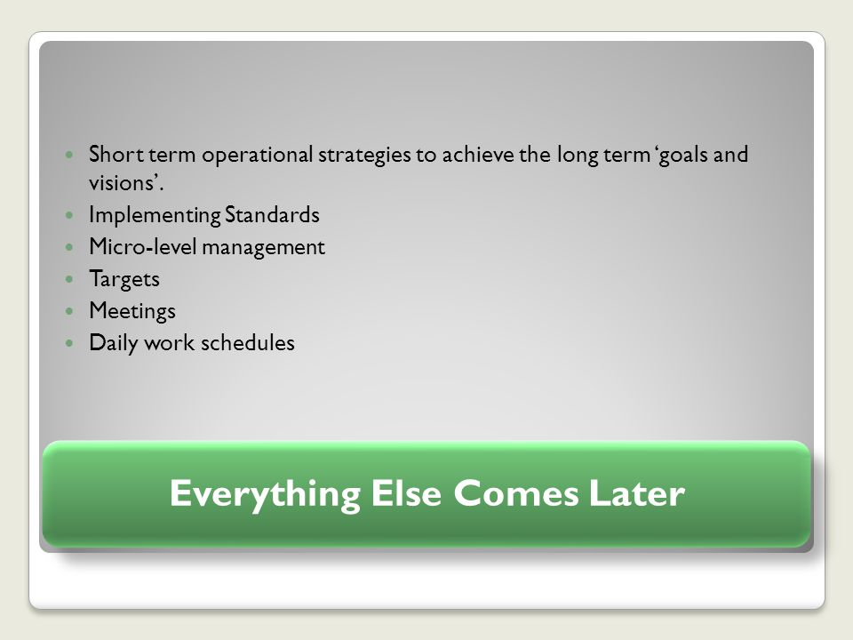 Everything Else Comes Later Short term operational strategies to achieve the long term 'goals and visions'.