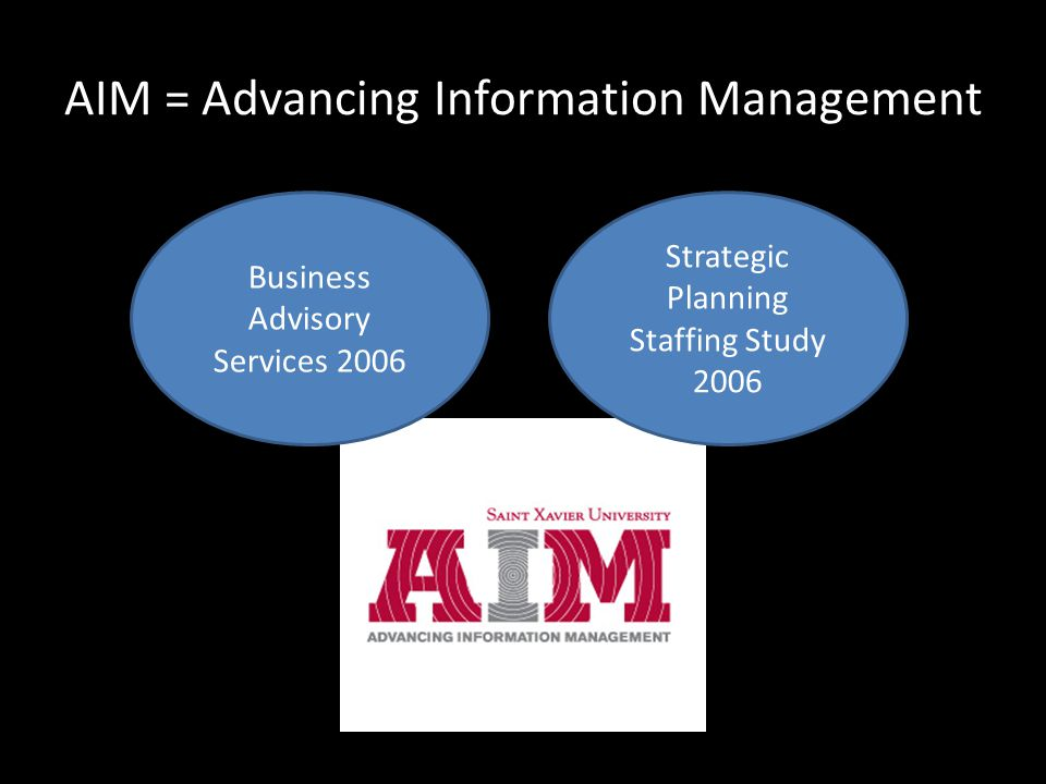 AIM = Advancing Information Management Business Advisory Services 2006 Strategic Planning Staffing Study 2006