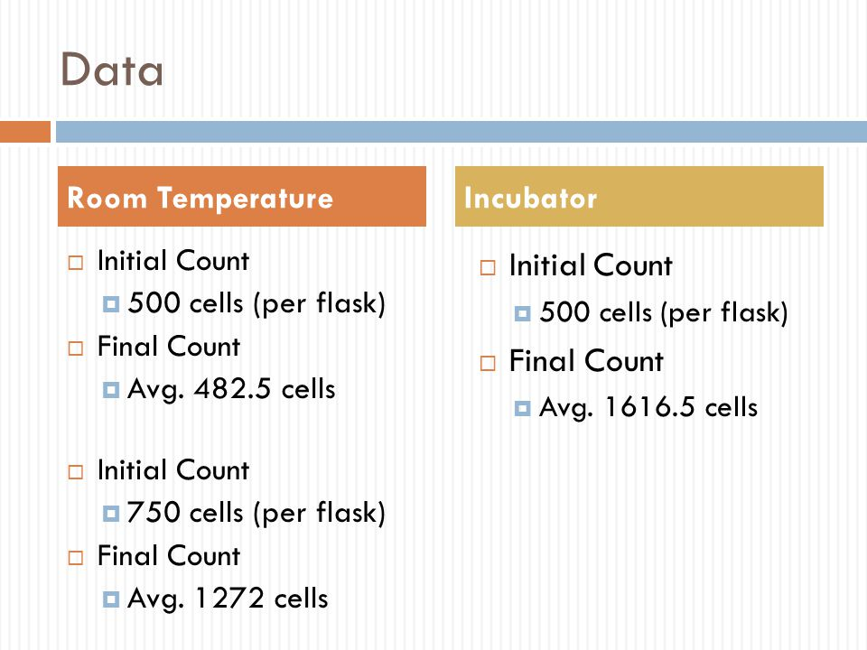 Data  Initial Count  500 cells (per flask)  Final Count  Avg. 1616.5 cells  Initial Count  500 cells (per flask)  Final Count  Avg. 482.5 cell