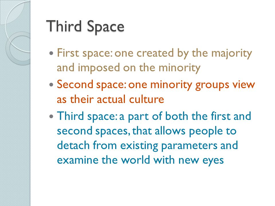 First space: one created by the majority and imposed on the minority Second space: one minority groups view as their actual culture Third space: a par