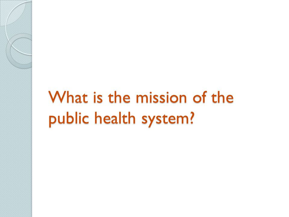 What is the mission of the public health system?