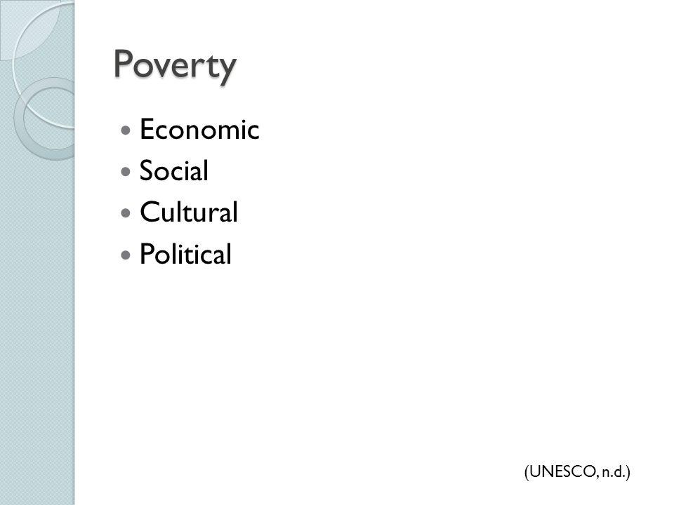 Poverty Economic Social Cultural Political (UNESCO, n.d.)