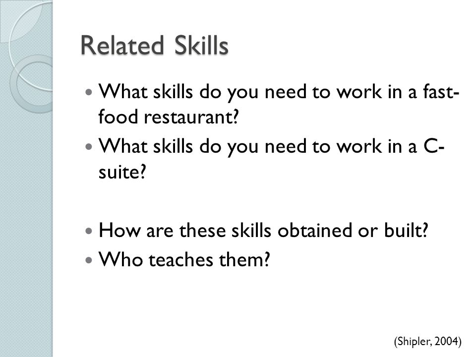 Related Skills What skills do you need to work in a fast- food restaurant? What skills do you need to work in a C- suite? How are these skills obtaine