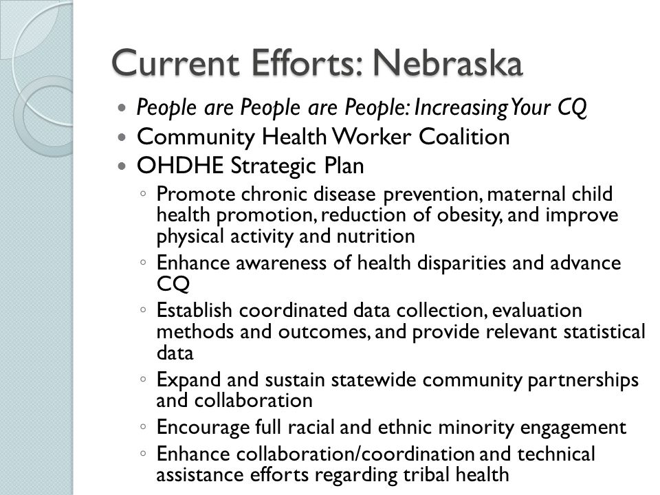 Current Efforts: Nebraska People are People are People: Increasing Your CQ Community Health Worker Coalition OHDHE Strategic Plan ◦ Promote chronic di