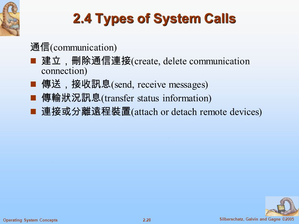 2.28 Silberschatz, Galvin and Gagne ©2005 Operating System Concepts 2.4 Types of System Calls 通信 (communication) n 建立,刪除通信連接 (create, delete communica