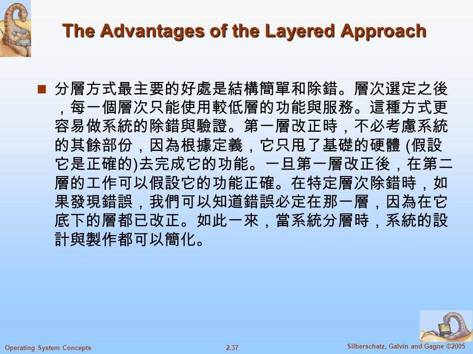 2.37 Silberschatz, Galvin and Gagne ©2005 Operating System Concepts The Advantages of the Layered Approach 分層方式最主要的好處是結構簡單和除錯。層次選定之後 ,每一個層次只能使用較低層的功能與