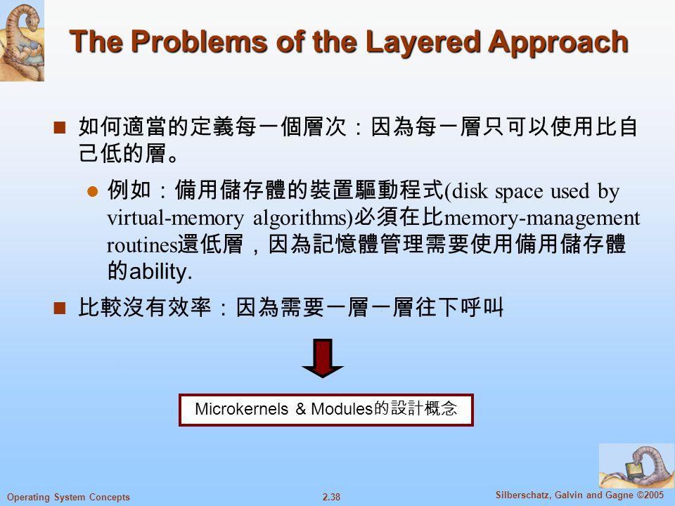 2.38 Silberschatz, Galvin and Gagne ©2005 Operating System Concepts The Problems of the Layered Approach 如何適當的定義每一個層次:因為每ㄧ層只可以使用比自 己低的層。 例如:備用儲存體的裝置驅動