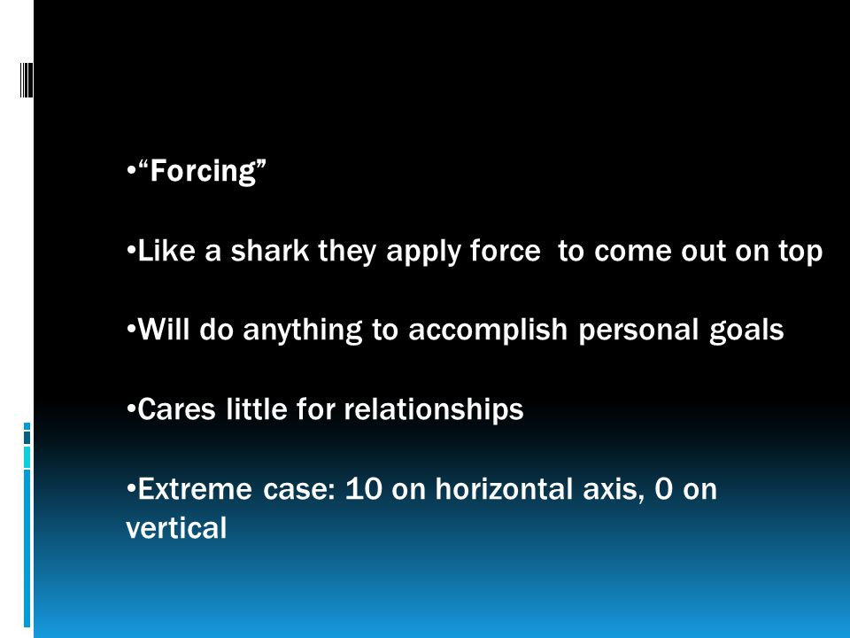 Forcing Like a shark they apply force to come out on top Will do anything to accomplish personal goals Cares little for relationships Extreme case: 10 on horizontal axis, 0 on vertical