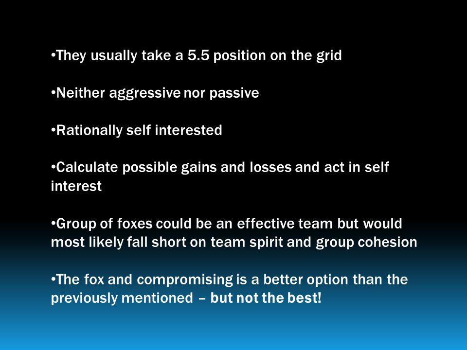 They usually take a 5.5 position on the grid Neither aggressive nor passive Rationally self interested Calculate possible gains and losses and act in self interest Group of foxes could be an effective team but would most likely fall short on team spirit and group cohesion The fox and compromising is a better option than the previously mentioned – but not the best!