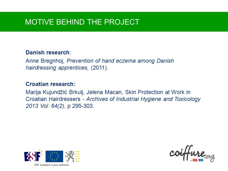 MOTIVE BEHIND THE PROJECT Danish research: Anne Bregnhoj, Prevention of hand eczema among Danish hairdressing apprentices, (2011).