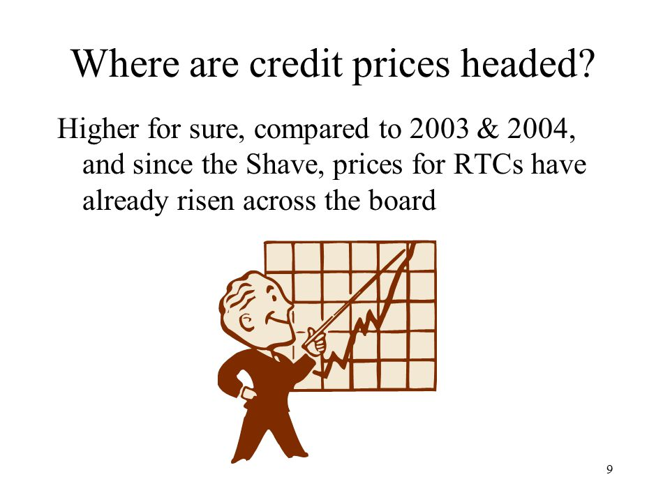 9 Where are credit prices headed? Higher for sure, compared to 2003 & 2004, and since the Shave, prices for RTCs have already risen across the board
