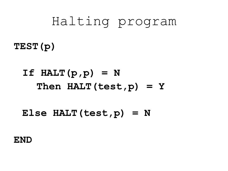 Halting program TEST(p) If HALT(p,p) = N Then HALT(test,p) = Y Else HALT(test,p) = N END