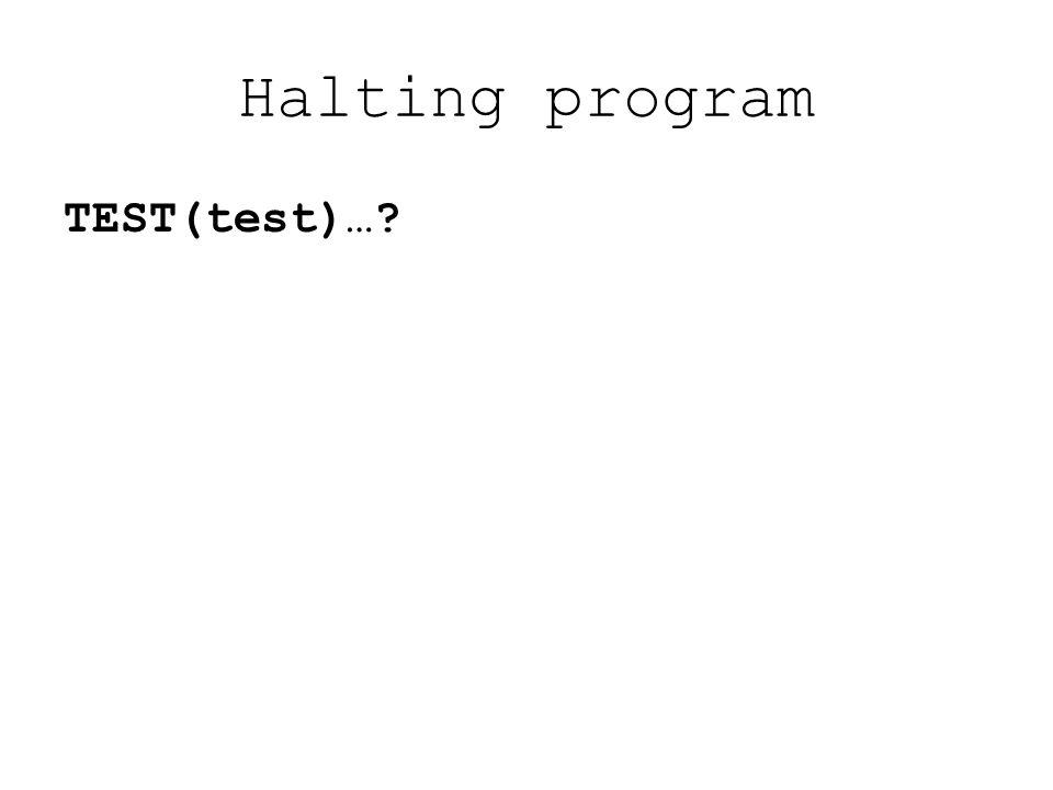 Halting program TEST(test) If HALT(test,test) = N Then HALT(test,test) = Y STOP Else LOOP END