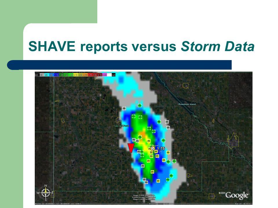 SHAVE reports versus Storm Data