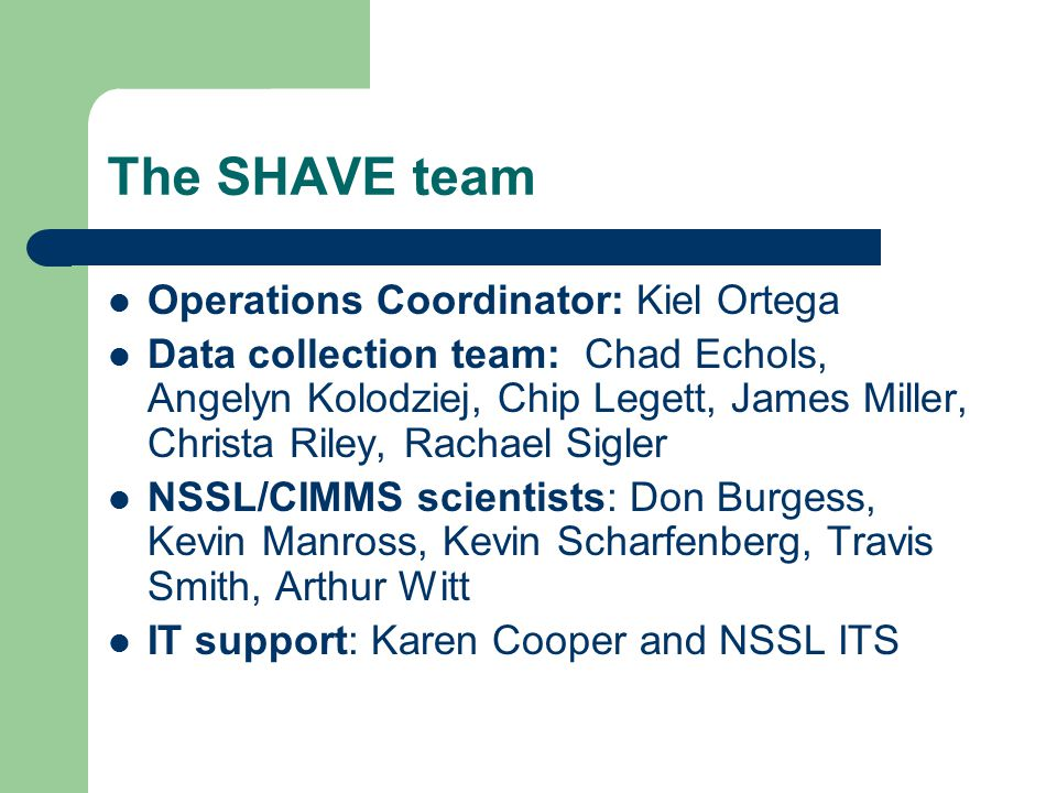 The SHAVE team Operations Coordinator: Kiel Ortega Data collection team: Chad Echols, Angelyn Kolodziej, Chip Legett, James Miller, Christa Riley, Rac