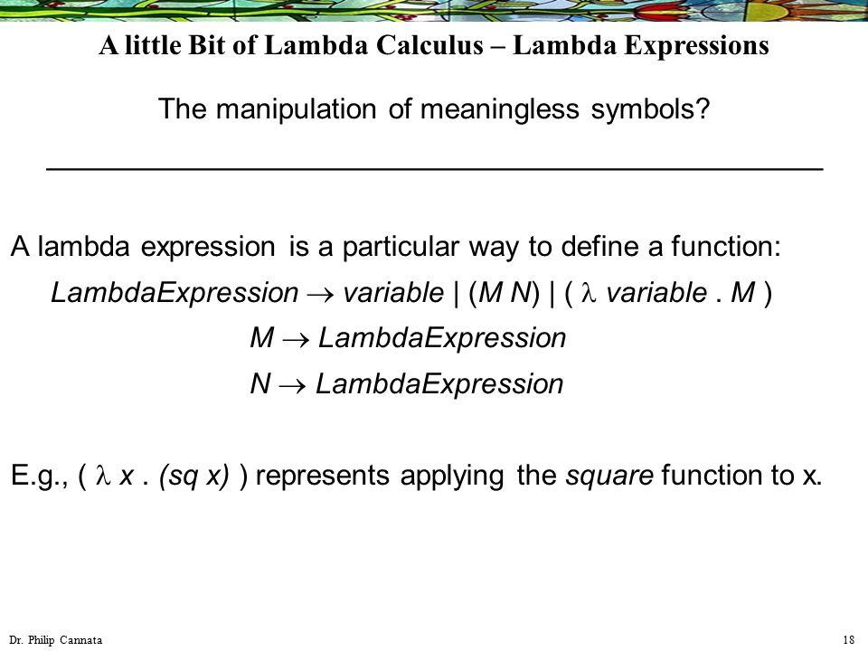 Dr. Philip Cannata 18 The manipulation of meaningless symbols.