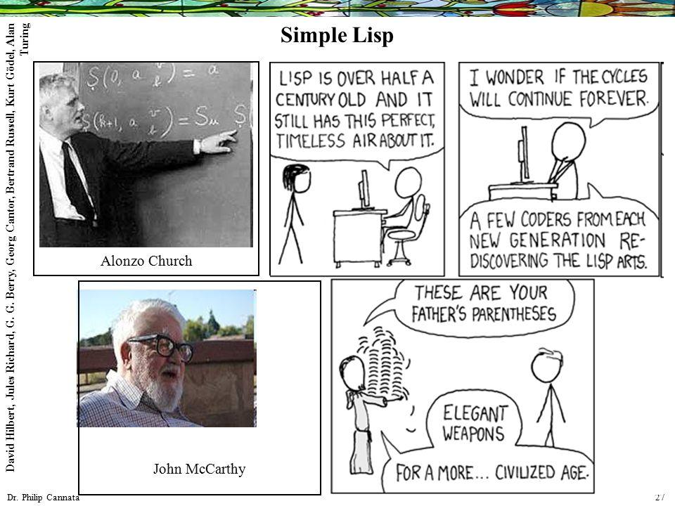 Dr. Philip Cannata 27 Simple Lisp John McCarthy Alonzo Church David Hilbert, Jules Richard, G. G. Berry, Georg Cantor, Bertrand Russell, Kurt Gödel, A