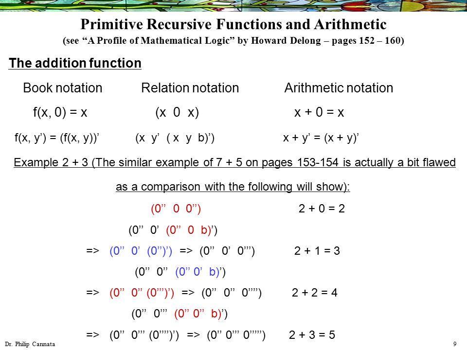 Dr. Philip Cannata 9 The addition function Book notation Relation notation Arithmetic notation f(x, 0) = x (x 0 x) x + 0 = x f(x, y') = (f(x, y))' (x