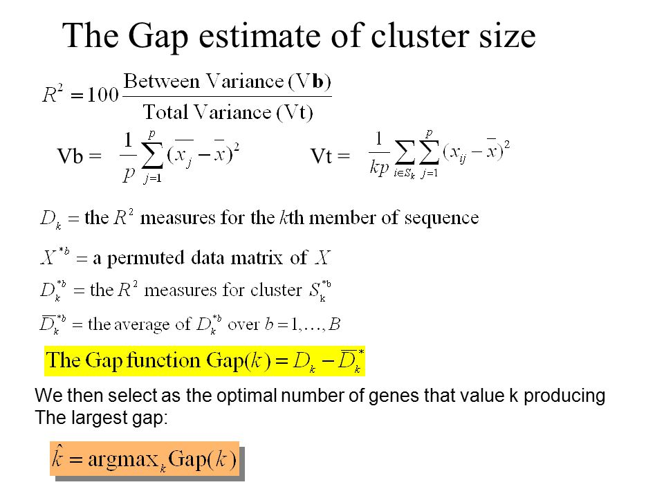 The Gap estimate of cluster size We then select as the optimal number of genes that value k producing The largest gap: Vb =Vt =