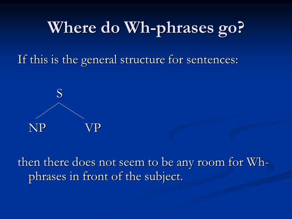 Where do Wh-phrases go.
