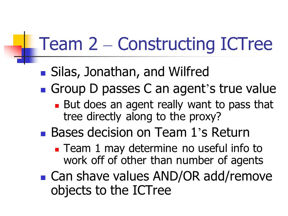 Team 2 Belief of Final Team 1 ICTree Team 3 Team 2 May have shaved values or new items