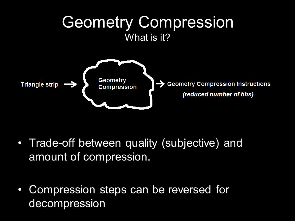 Geometry Compression What is it. Trade-off between quality (subjective) and amount of compression.
