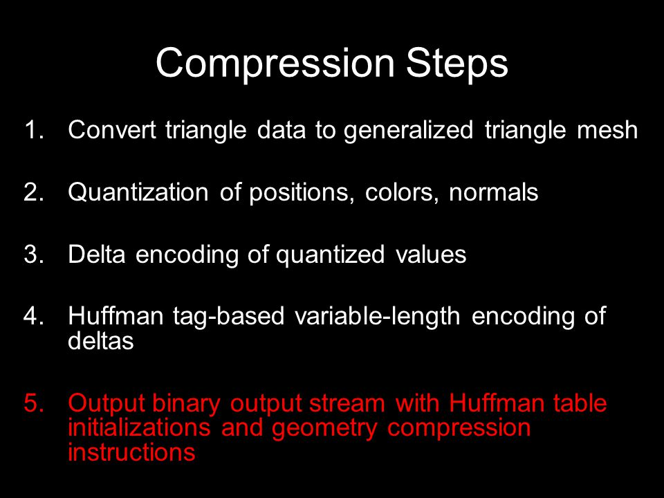 Geometry Compression Instruction Set