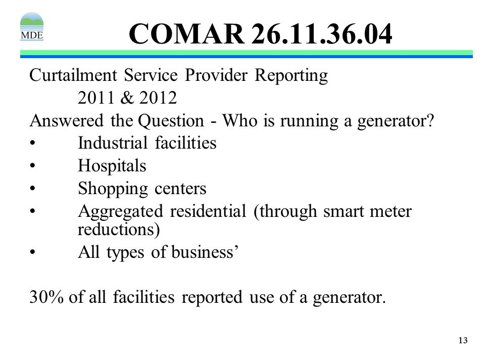 13 COMAR 26.11.36.04 Curtailment Service Provider Reporting 2011 & 2012 Answered the Question - Who is running a generator.