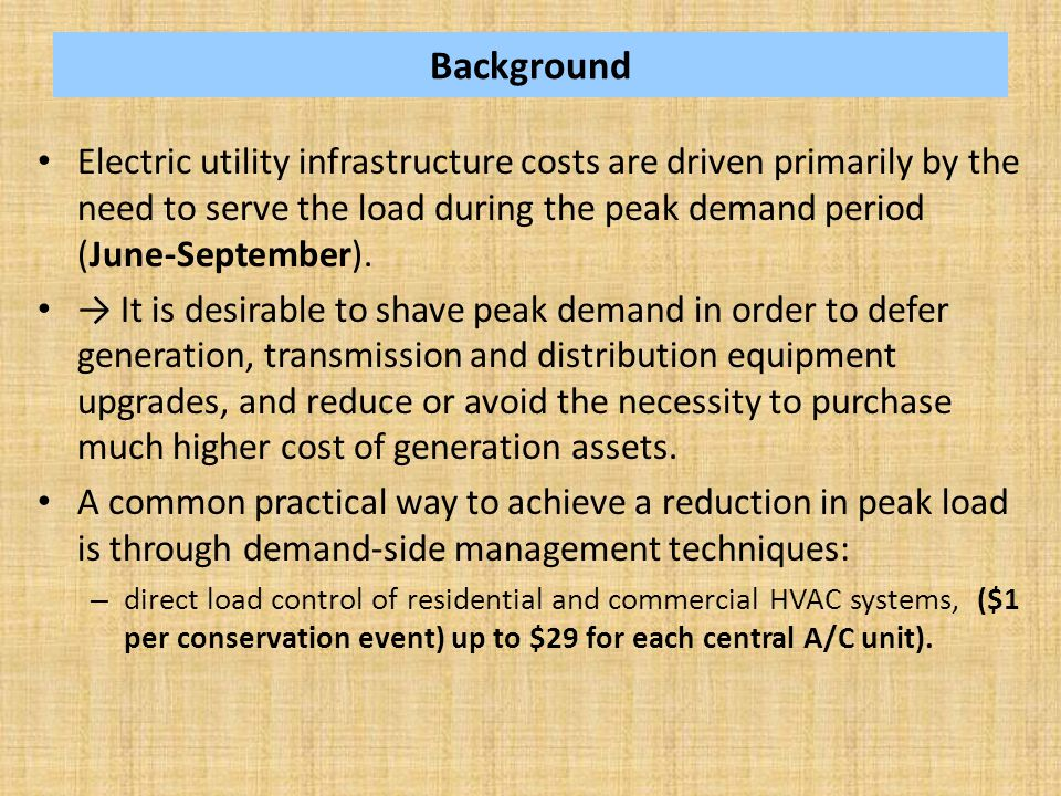 Background Electric utility infrastructure costs are driven primarily by the need to serve the load during the peak demand period (June-September). →