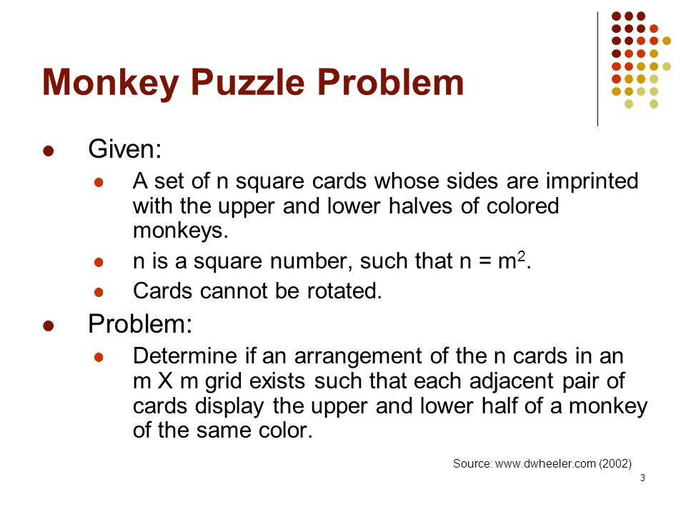 3 Monkey Puzzle Problem Given: A set of n square cards whose sides are imprinted with the upper and lower halves of colored monkeys.