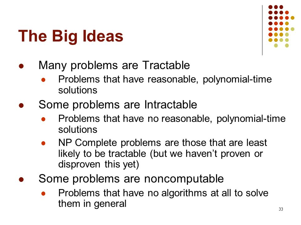 33 The Big Ideas Many problems are Tractable Problems that have reasonable, polynomial-time solutions Some problems are Intractable Problems that have no reasonable, polynomial-time solutions NP Complete problems are those that are least likely to be tractable (but we haven't proven or disproven this yet) Some problems are noncomputable Problems that have no algorithms at all to solve them in general