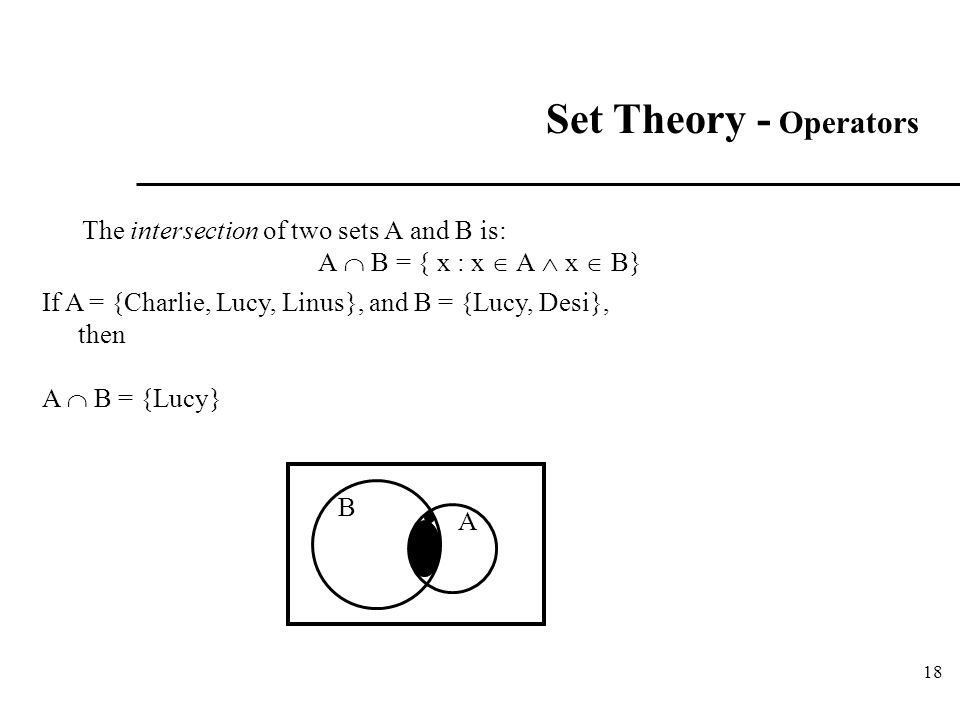 18 Set Theory - Operators The intersection of two sets A and B is: A  B = { x : x  A  x  B} If A = {Charlie, Lucy, Linus}, and B = {Lucy, Desi}, t