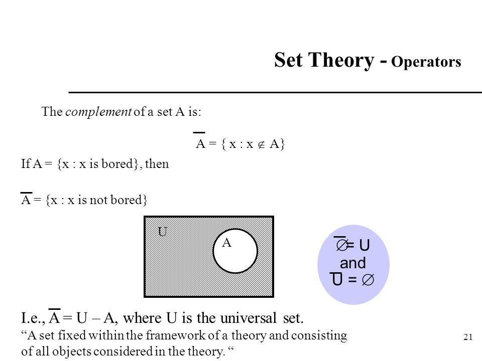 21 Set Theory - Operators The complement of a set A is: A = { x : x  A} If A = {x : x is bored}, then A = {x : x is not bored} A  = U and U =  U I.