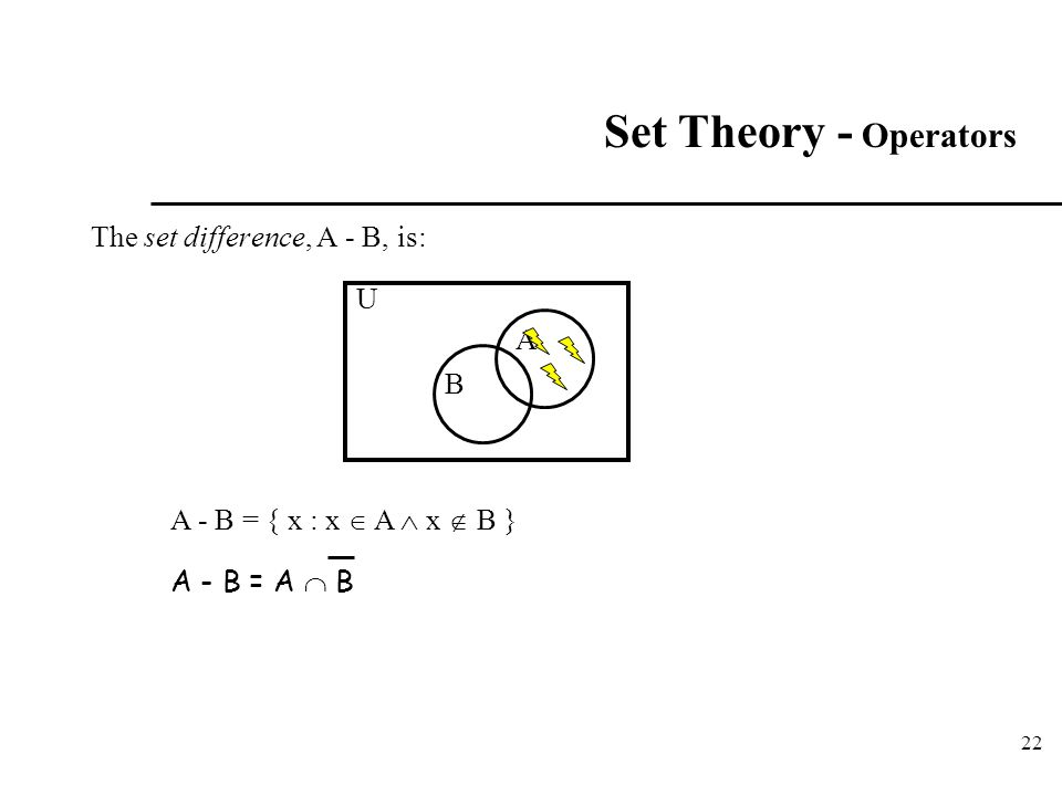 22 Set Theory - Operators The set difference, A - B, is: A U B A - B = { x : x  A  x  B } A - B = A  B