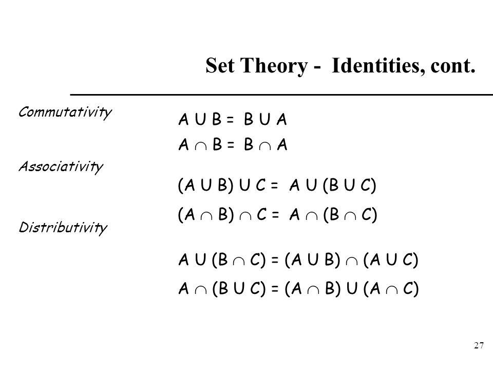 27 Set Theory - Identities, cont. Commutativity Associativity Distributivity A U B = (A U B) U C = A  B = B U A B  A (A  B)  C = A U (B U C) A  (